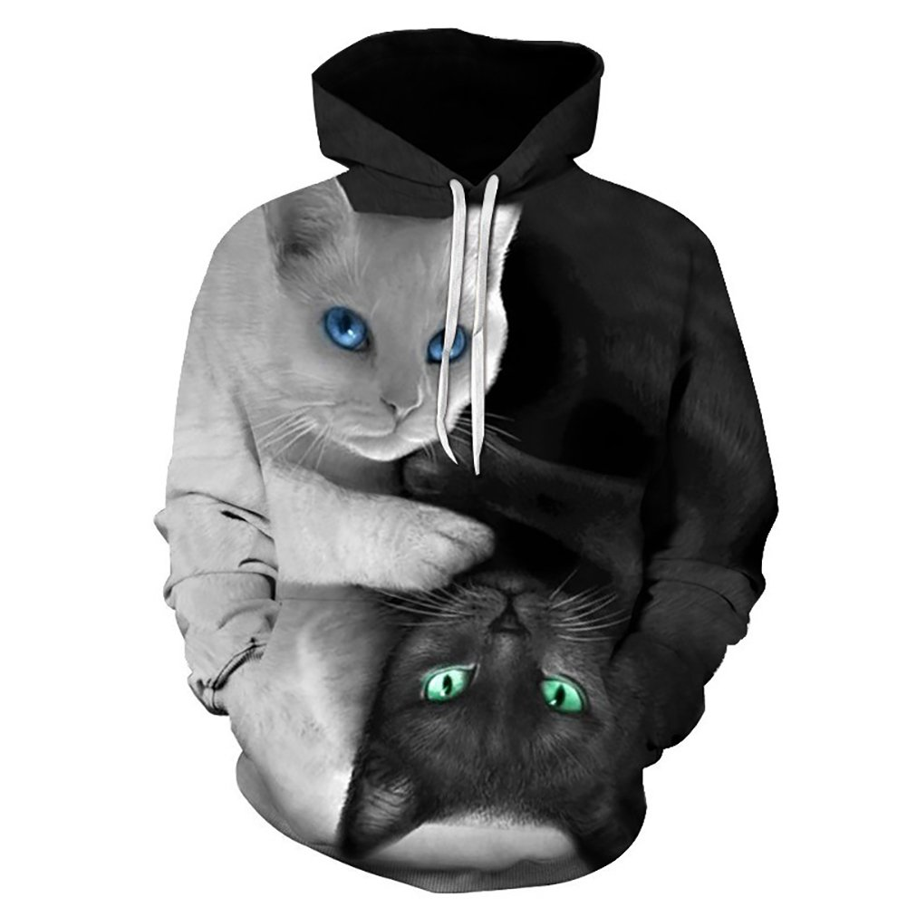 Eaglebeky Cat Printed Hoodie Unisex Sweatshirts Boy Pullover Fashion Tracksuits Animal Cool Design Streetwear Clothes (6XL)