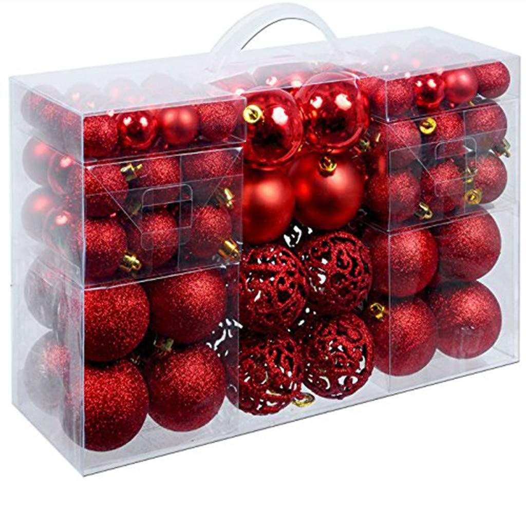 Decorative Ball,Meetsunshine 100PC Christmas Xmas Tree Ball Hanging Home Party Ornament Garden Festive Decor (Red) by Meetsunshine Christmas