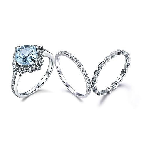 Amazon.com: 3 piezas Juego de anillos de boda, 23 foot corte ...