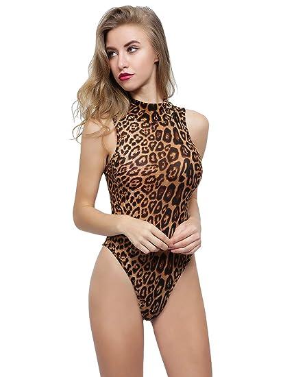 HUILAN Women s Sleeveless Leopard High Neck Onepiece Leotard Bodysuit Multi  S cc9a73bbc