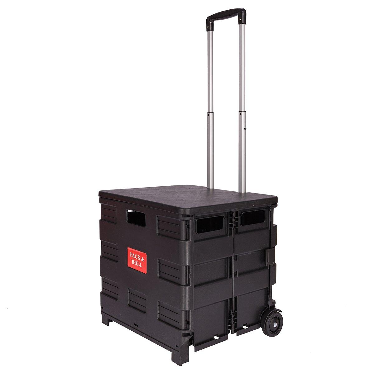 DXP Large Folding Shopping Cart Trolley Transport Storage Trolley 2 Wheels Black 35kg WS-01