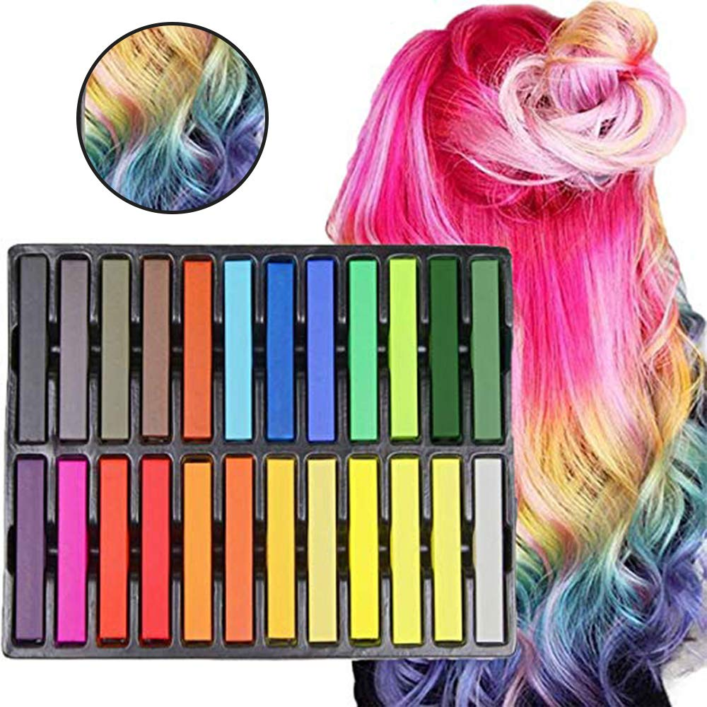 Hair Chalk, 24 Non-Toxic Temporary Hair Pastel Chalk Beauty Kit for Kids, Christmas Birthday Gifts Present for Children and Teenagers Playmont