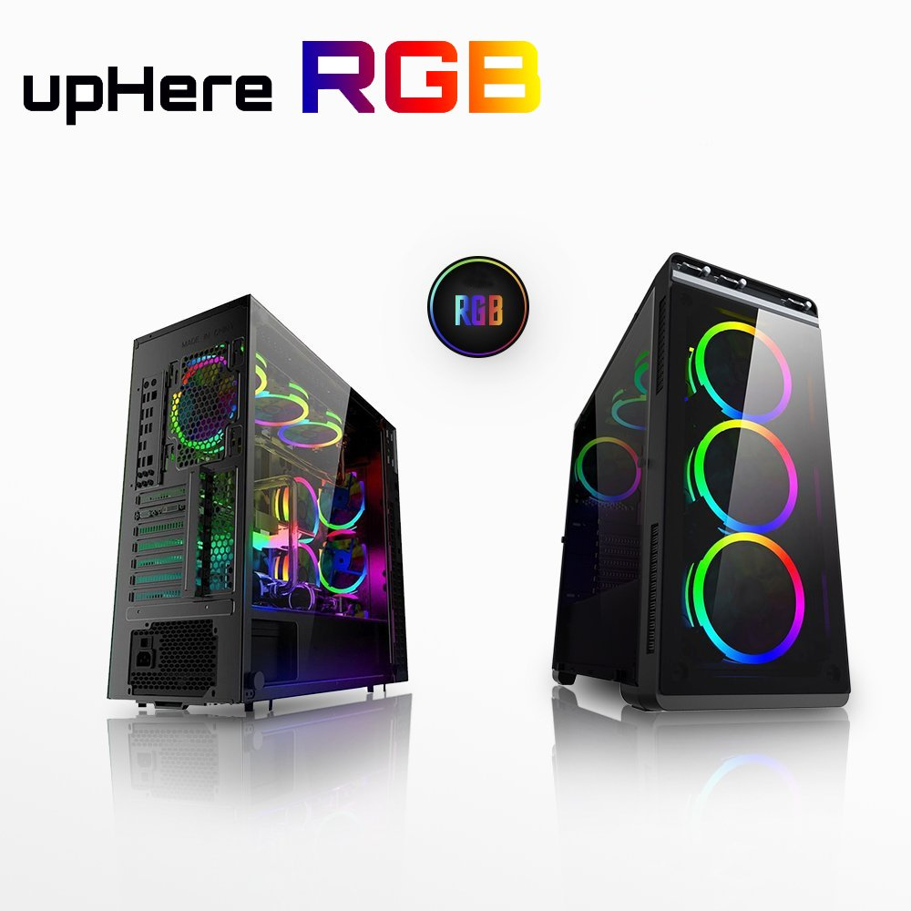 upHere 3-Pack Wireless RGB LED 120mm Case Fan,Quiet Edition High Airflow Adjustable Color LED Case Fan for PC Cases, CPU Coolers,Radiators system by upHere (Image #2)