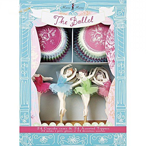 24 Cupcake Liners and 24 Cake Toppers Set For Girls Birthday Party Celebration Ballet Cupcake Decoration Kit by Romantic Baking