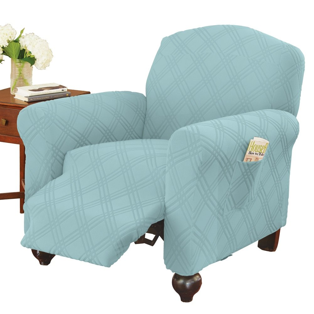 Collections Etc Double Diamond Form Fit Stretch Furniture Slipcover, Blue, Recliner
