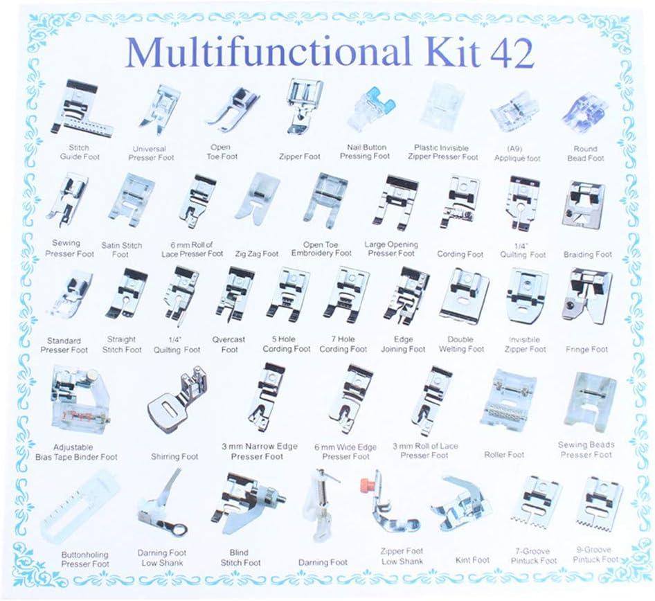 WDXLT Universal Profesional Multi-función Prensatelas,domésticas Máquina De Coser Kit Prensatelas,Zigzag Caña Baja Snap On Foot,etc. 42pcs 25.5x24.2x3.1cm (10x10x1inch)