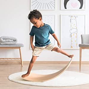 KIOSESI Wobble Board, Wooden Balance Board for Toddler, Curvy Rocker Board for Kids and Adults, Gift for Body Training, Yoga and Exercise for Home&Classroom&Office in Kid Size (35 Inch) (Natural Wood)