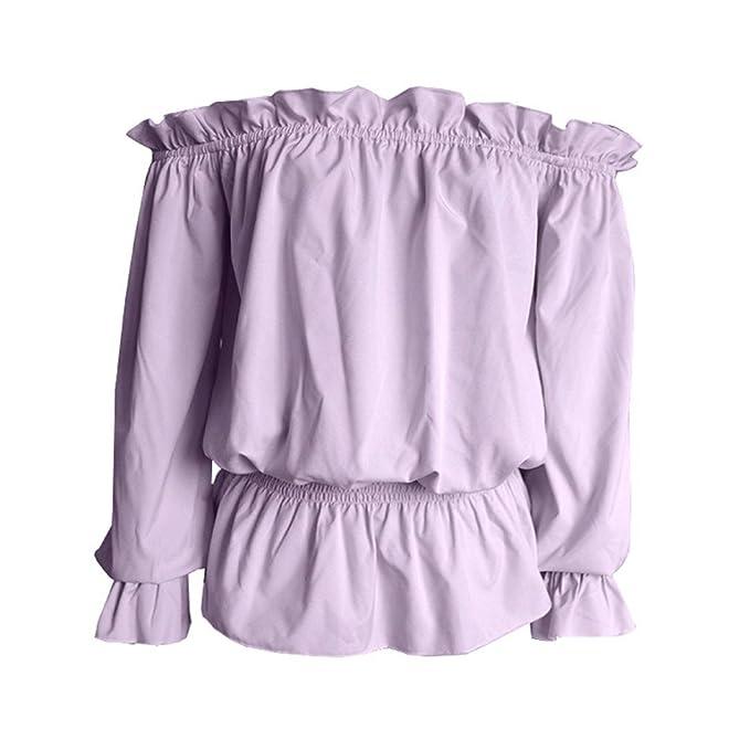 ❤ Amlaiworld Blusas sexy de mujer Primavera verano Sudadera de manga larga con volantes en el hombro Tops Camisa blusa mujer fiesta en ofertas (Púrpura, ...