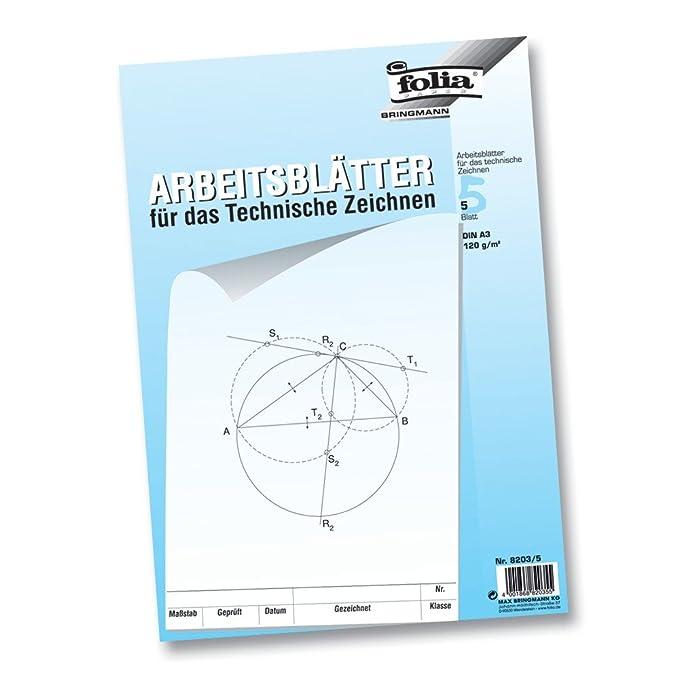 folia Arbeitsblätter für technisches Zeichnen, 120 g/m², DIN A3 ...