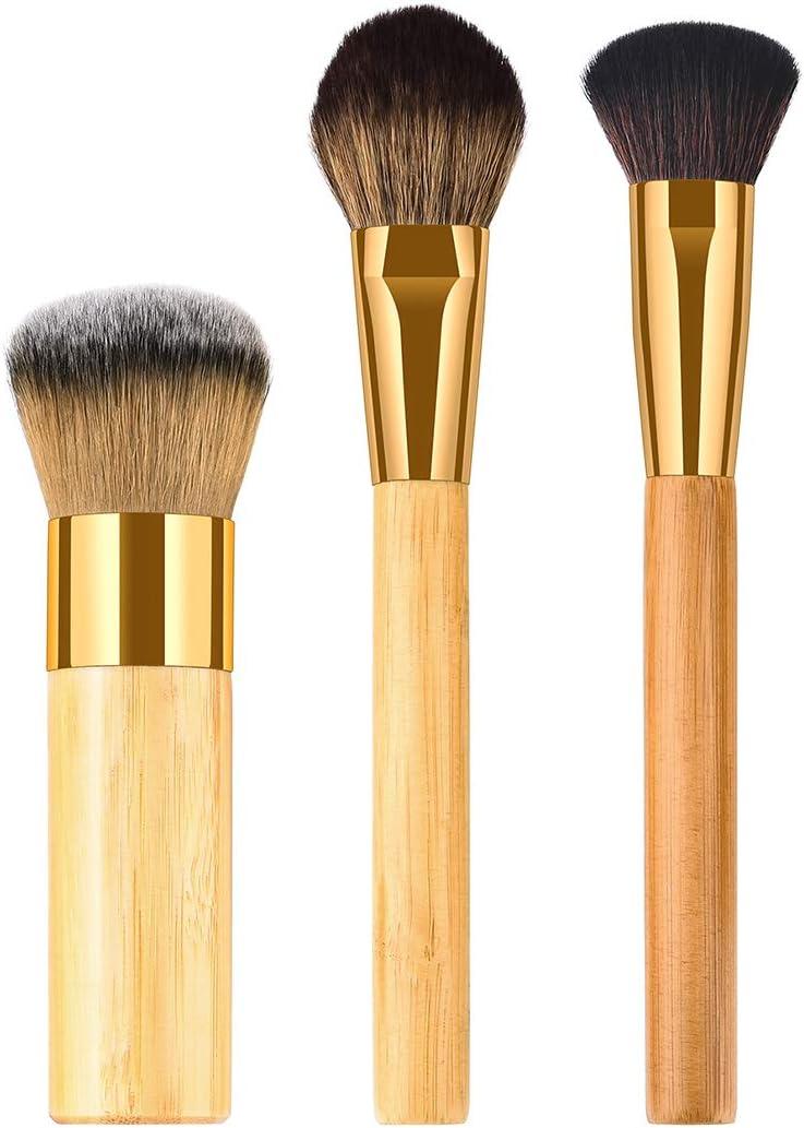 3pcs Mango de bambú suave cerdas de nylon cepillo de maquillaje Cosméticos en polvo Blush Brush Kit para mujer (TM-015)