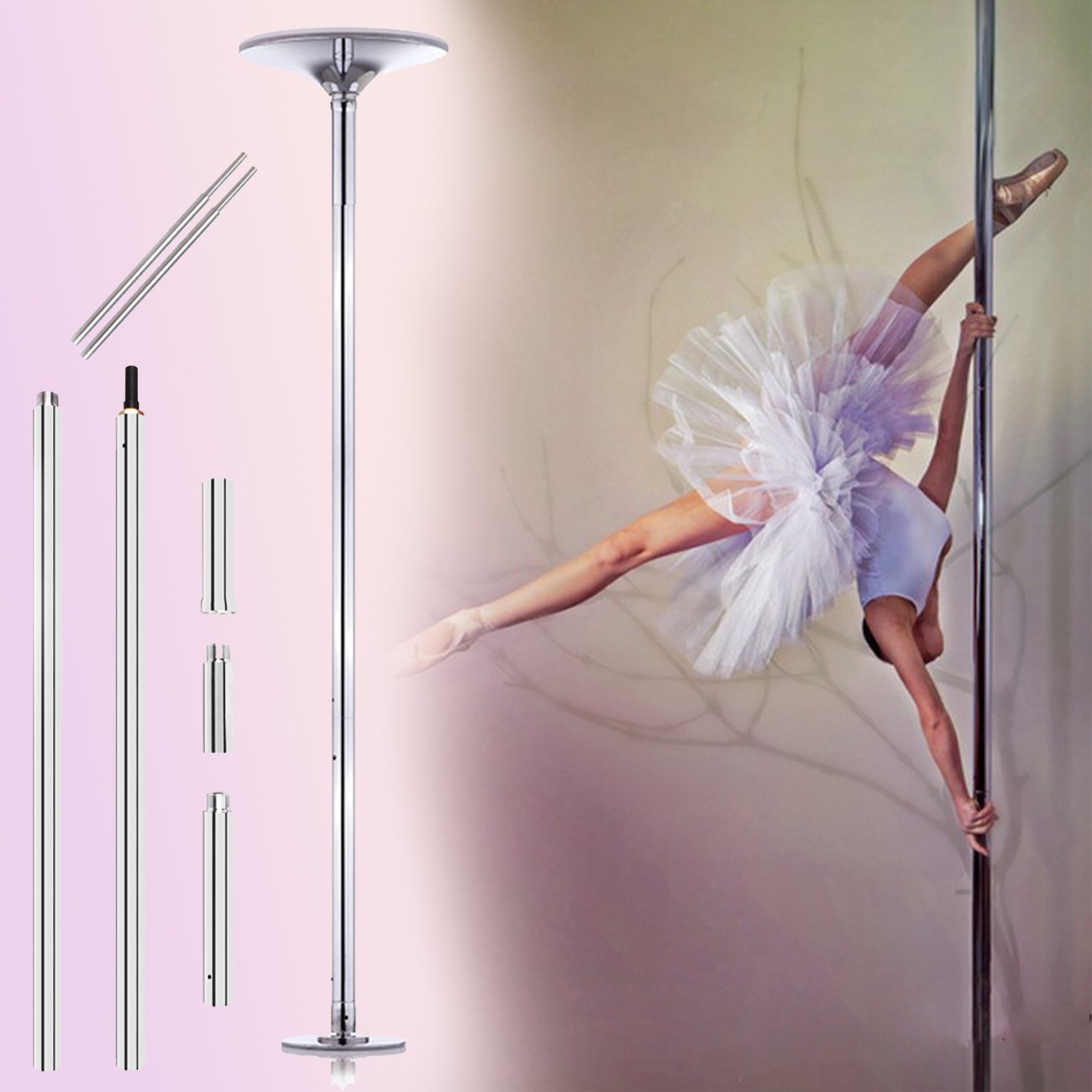 Ridgeyard 45mm Chrome Spinning / Static Portable Dance Pole Exotic Stripper Spinning Fitness Exercise Weight Loss Professional Kit Extendable from 2235mm (7'4'') to 2745mm (9')+ Instructional DVD by Ridgeyard