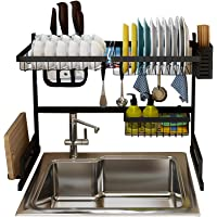 Goolsky Over the Sink Stainless Steel Dish Rack Dish Drainer Drying Dryer Rack Holder with Draining Board Chopsticks Holder for Kitchenware