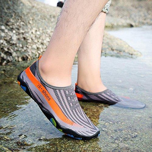 Water Shoes,Kingwo Men Women Quick Drying Slip On Barefoot Water Skin Shoes Diving Socks Aqua Socks Great For Swim Yoga Beach Outdoor Water Sport Pool Surf Gray