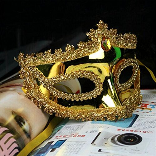 [Lsinyan Princess Mask for Halloween Dance Party gold] (Anonymous Man Costume)