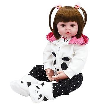 5ba852943c9f6 Bambola Reborn Femmina Silicone Bambina Realistica Vestito da Panda  Pantaloni Neri con Scarpe 60 cm  Amazon.it  Giochi e giocattoli
