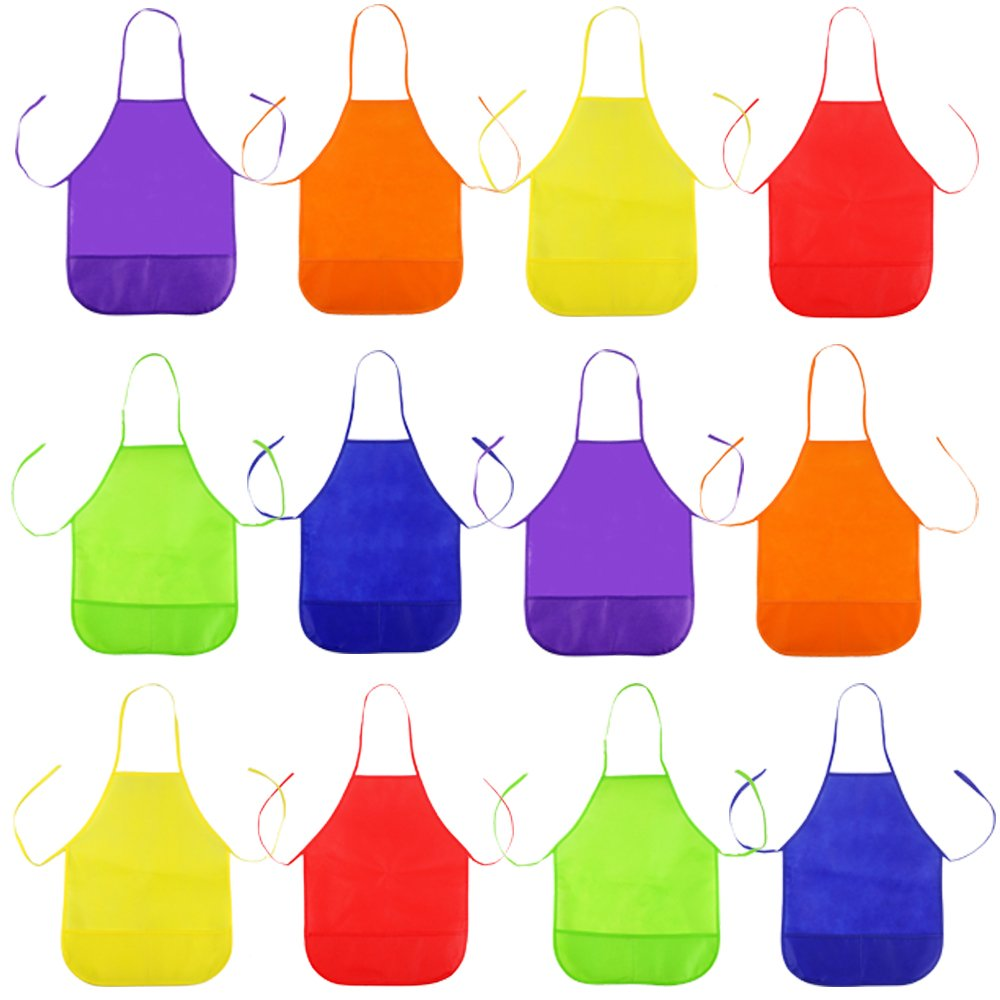 Octter Children's Artists Fabric Aprons Kids Aprons with Pockets for Craft, Kitchen, Painting(12pcs, 6 Colors)