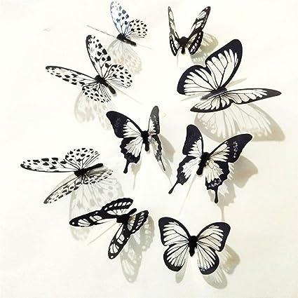 Staron 3D Butterfly Wall Sticker, 36pcs Black White Butterfly Wall Sticker  Decal Bedroom Vinyl Art