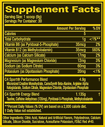 Cellucor C4 Sport Concentrated Energy Drink and Pre Workout Powder, Fruit Punch, 30 Servings NSF Certified for Sport