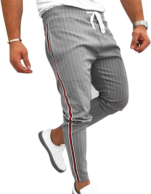 LuMon Hombre Sports Pantalones, Hombre Rayado Casual Pantalones ...