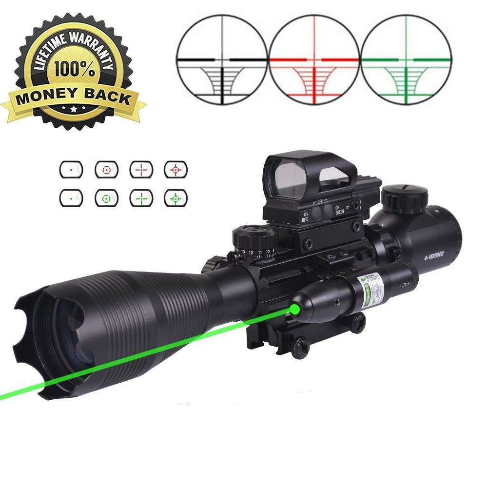 AR15 Tactical Rifle Scopes 4-12X50EG Dual Ill Optical Reticle Scope with Holographic R&G Dot Sight 500MM Green Laser Weaver/Picatinny Mount(24 Month Warranty)