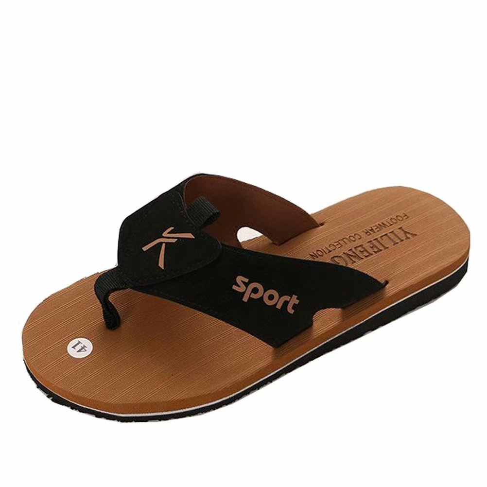 BEALTUY Men's Classical Flip-Flops with Arch Support Lightweight Sandals for Summer and Beach,RZT02-Brown-41