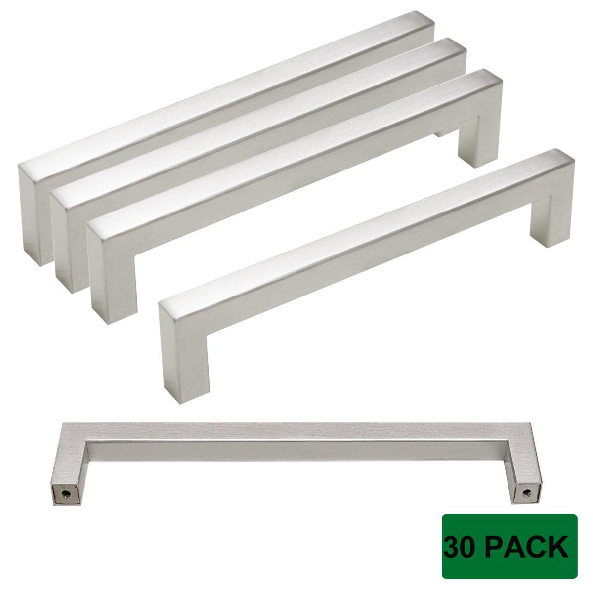 Probrico 30 Pack 6-3/10'' (160mm) Center to Center Kitchen Cabinet Pulls Stainless Steel Cupboard Drawer Dresser Modern Brushed Nickel Bar Pulls