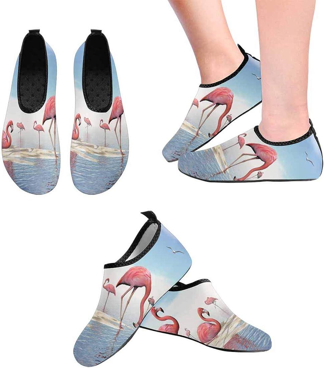INTERESTPRINT Mens Aqua Water Shoes Pink Flamingos Beach Barefoot Quick Dry Water Sports Shoes Beach Socks