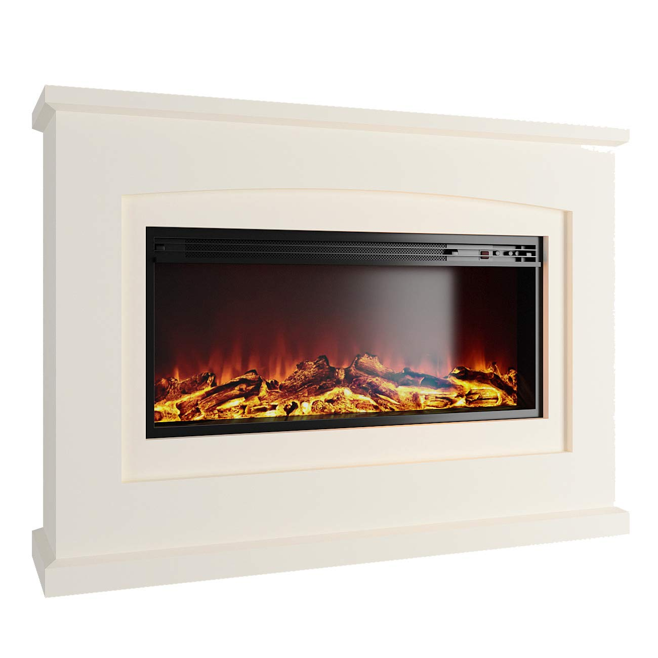 MODERN LIFE Electric Fireplace Suite 1800 Watt with LED Burning Flame Effect Adjustable Thermostat Countdown Time 2 Heat Settings Remote Control