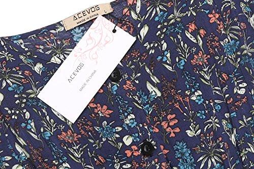 Print up Floral Flowy Blue Dress Women ACEVOG Blackless s Sundress Button Split Strap Maxi 6tZx8qw