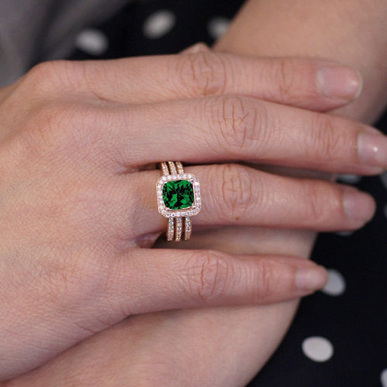Amazon.com: 2.25 Carat Perfect Princess cut Emerald and Diamond Trio ...