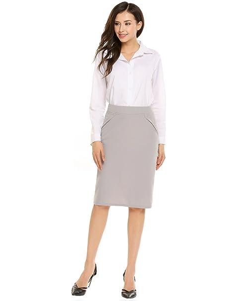 c5d72c5bdb Zeagoo Women's High Waist Stretch Bodycon Pencil Skirt for Office ...