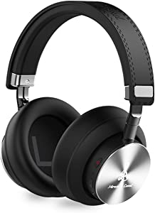 Miracle&Lesoul A7 Over Ear Bluetooth Headphones with Microphone,Wireless and Wired Hi-Fi Stereo Bass Foldable Headset, Soft Memory-Protein Earmuffs, 25 Hours Playtime for Trave/Work/PC/Phone,Black