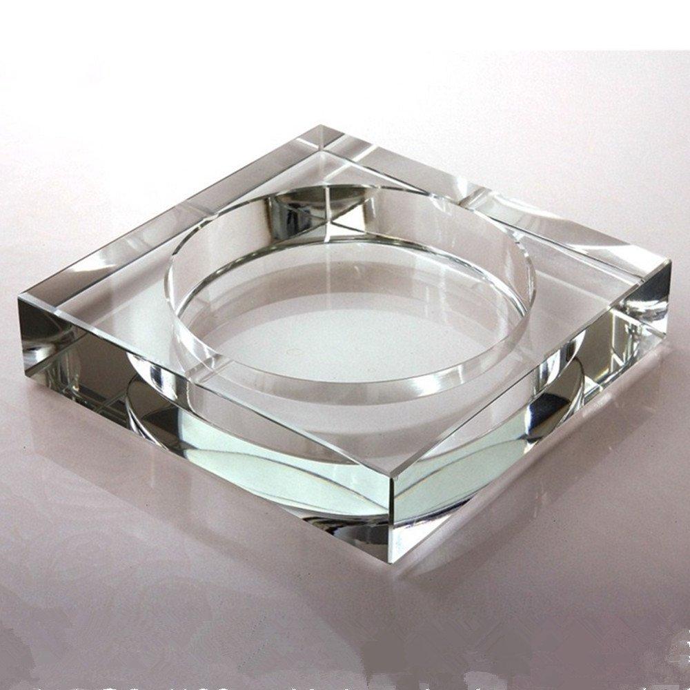 Square Glass Ashtray, -BestCatgift Office Decoration Glasses Ashtrays,Size 10 CM X 10 CM X 3 CM, Simple Crystal Ashtray. - [A]