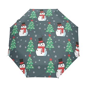 auto open close umbrella christmas tree snowman windproof compact folding travel umbrellas - Umbrella Christmas Tree
