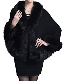 Caracilia Womens Faux Fur Coat Wedding Cape Shawl for ...
