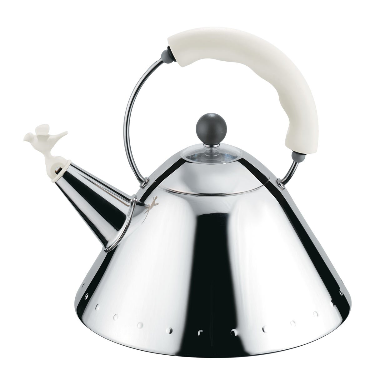 Alessi Kettle in 18/10 Stainless Steel Mirror Polished with Handle and Small Bird-shaped Whistle in Pa, White.