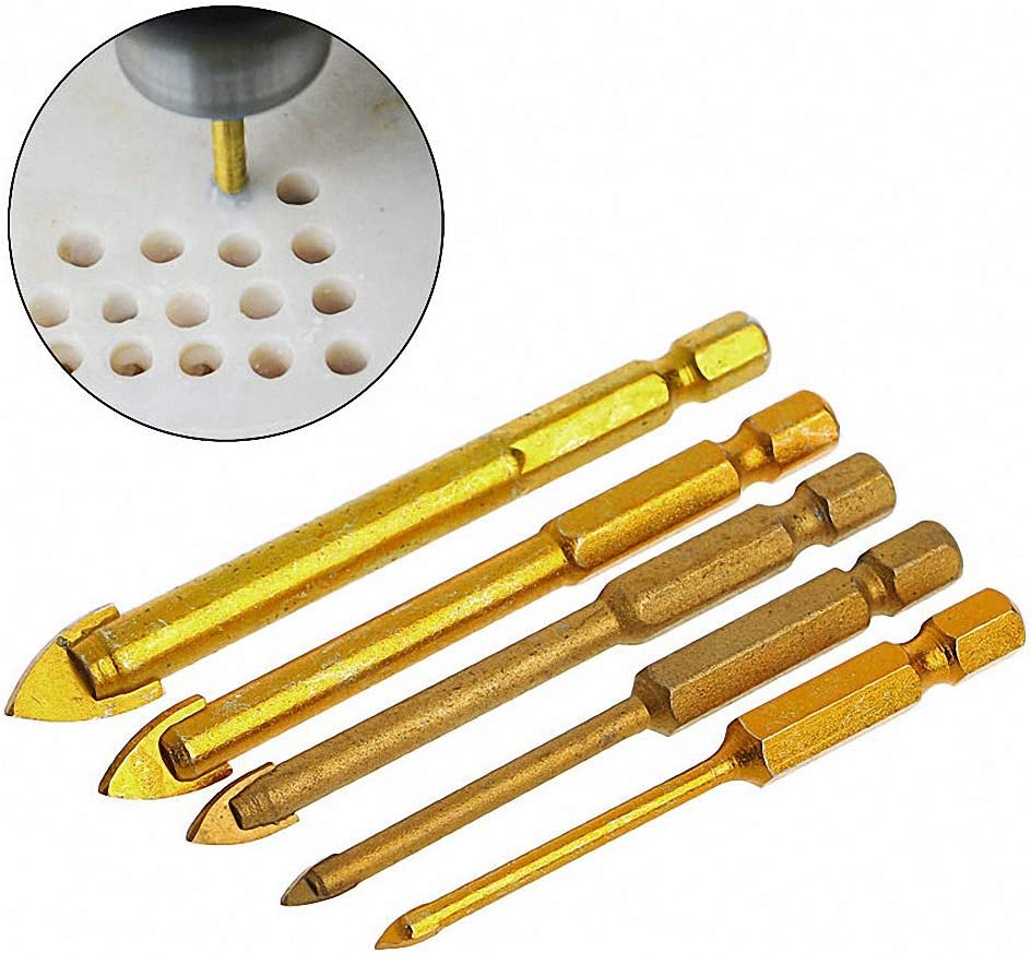 5 Pcs Titanium Coated Glass Drill Bit Set 3//4//6//8//10mm With Hex Shank