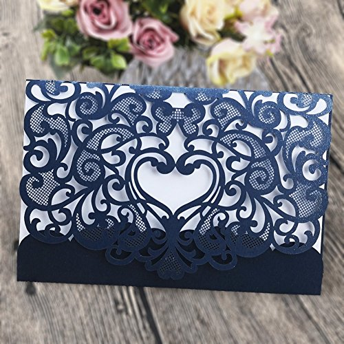 Wedding Invitation Card 50 pack, FOMTOR Laser cut Wedding Invitations Kit With Blank Printable Paper and Envelopes Navy Blue for $<!--$42.99-->