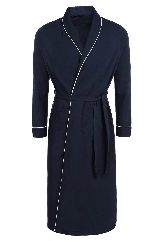 Goldenfox Men's Kimono Bathrobe Lightweight Cotton Spa Robe Soft Dressing Gown S-XXL