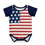 Newborn Baby Boys American Flag Summer Bodysuits Onesies Rompers