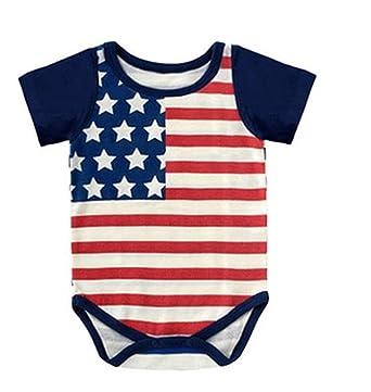 2ade1d4a832 Amazon.com  Jeleuon Newborn Baby Boys American Flag Summer Bodysuits ...