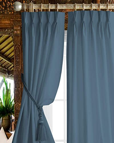 Kotton Culture Triple Pinch Pleat Thermal Insulation Blackout Curtains Window Panel for Bed Room Living Room 1 Panel W52x L108, Aqua Blue