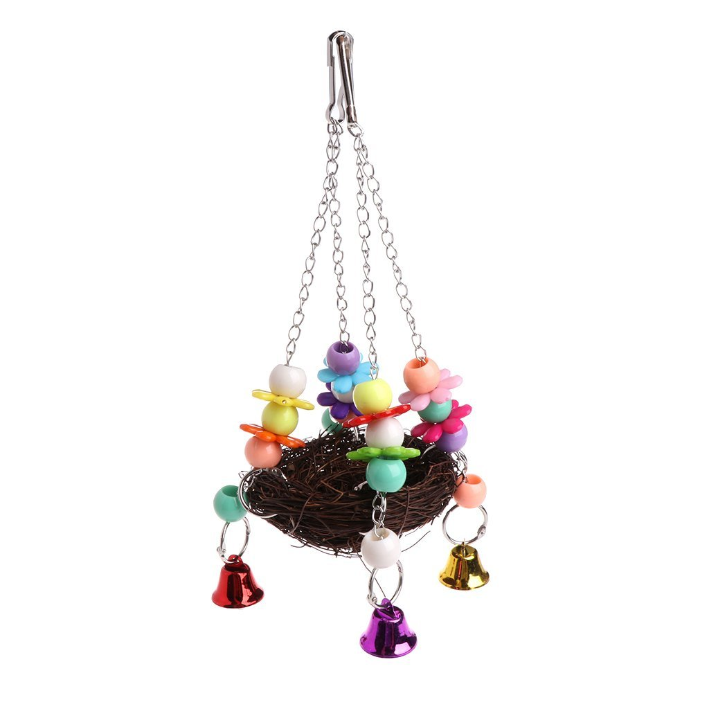 Natural Rattan Nest Bird Swing Toy Bells Cage Perch Stand Parrot Budgie Parakeet Cockatiel Premium Quality by Yevison