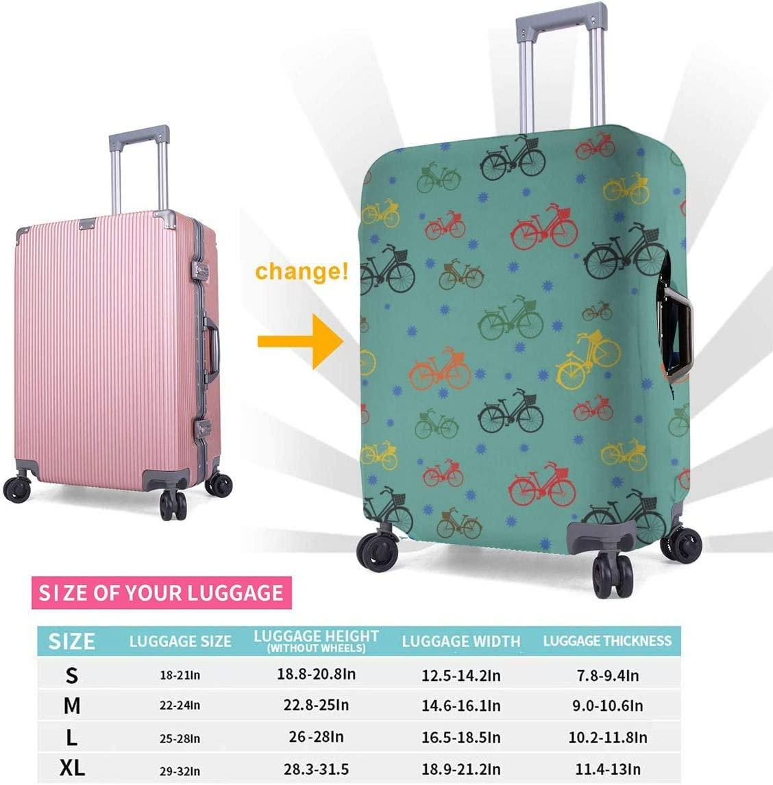 Travel Luggage Cover Spandex Suitcase Protective Cover Washable Baggage Carry on Protector Size XL L M S Bicycle Pattern XL