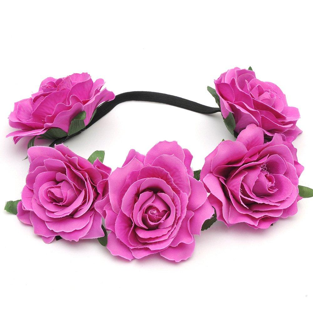 Dreamlily Womens Hawaiian Stretch Rose Flower Headband Floral Crown