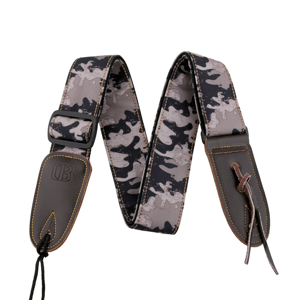 Mugig Guitar Strap Leisure Camouflage Style Wide and Soft Materail with Leather End for Bass & Electric Guitar (Pale Lavender)
