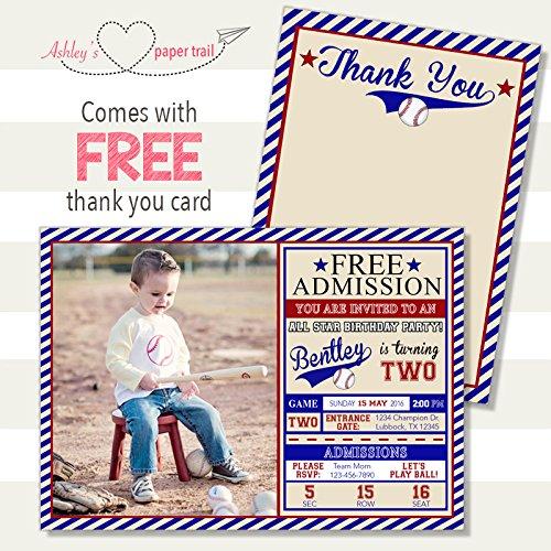 Amazon Boys Baseball Ticket Birthday Invitation