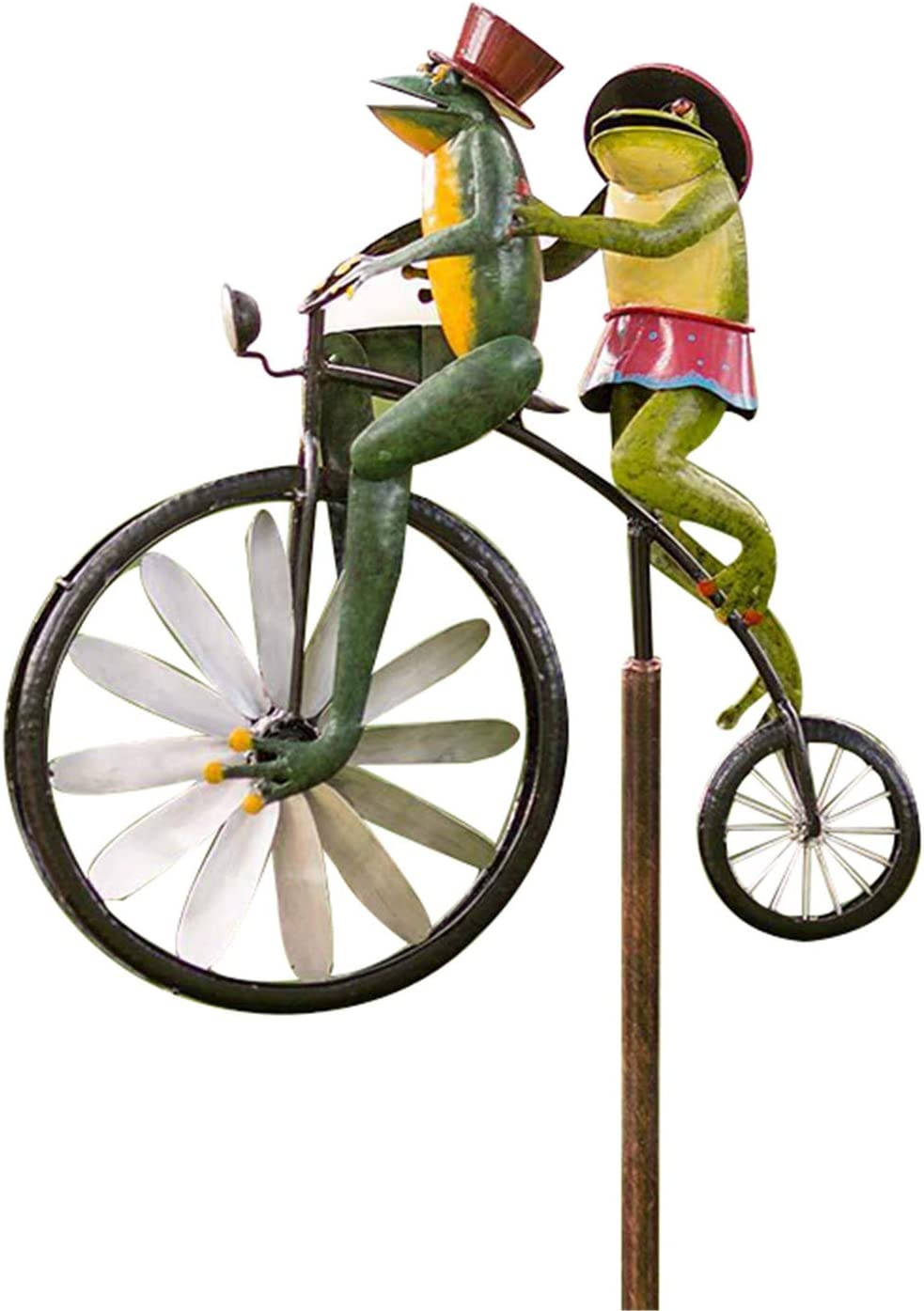 ALEXTREME Wind Spinners Outdoor Metal with Standing Vintage Bicycle, Frog Ornament Wind Spinner Pole Garden Yard Art Lawn Windmill Decoration Rabbit Mantis Cat Mouse Ornaments Decorations
