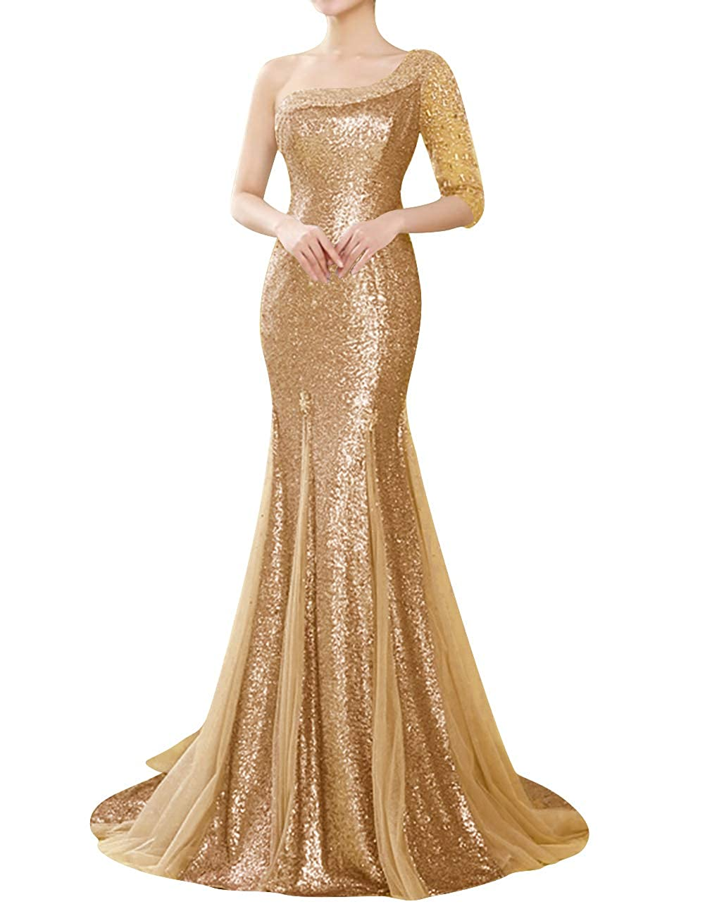 Champagne Uther Evening Dress Mermaid One Shoulder Sequins Beading Long Party Prom Gown