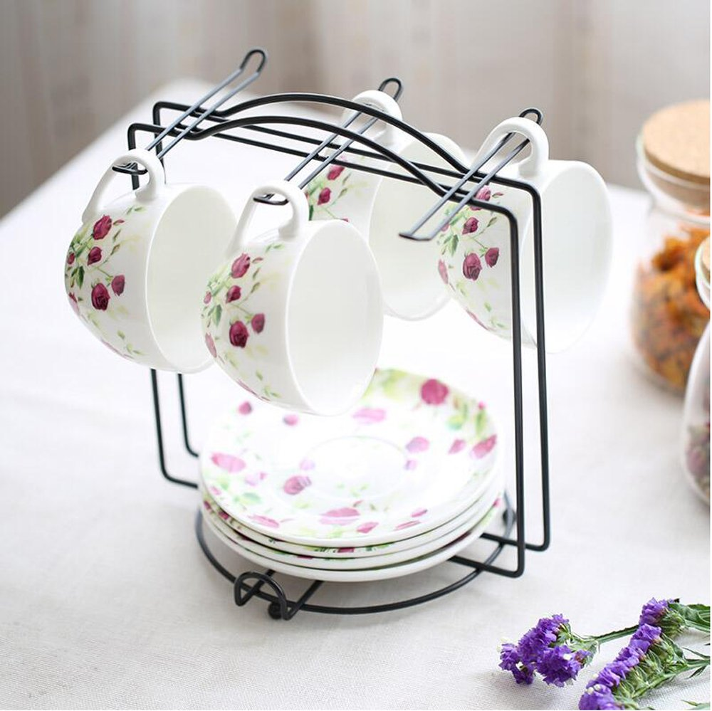 Amazon.com: Wire Rack for Organizing 6saucers & 6cups & 6spoons ...